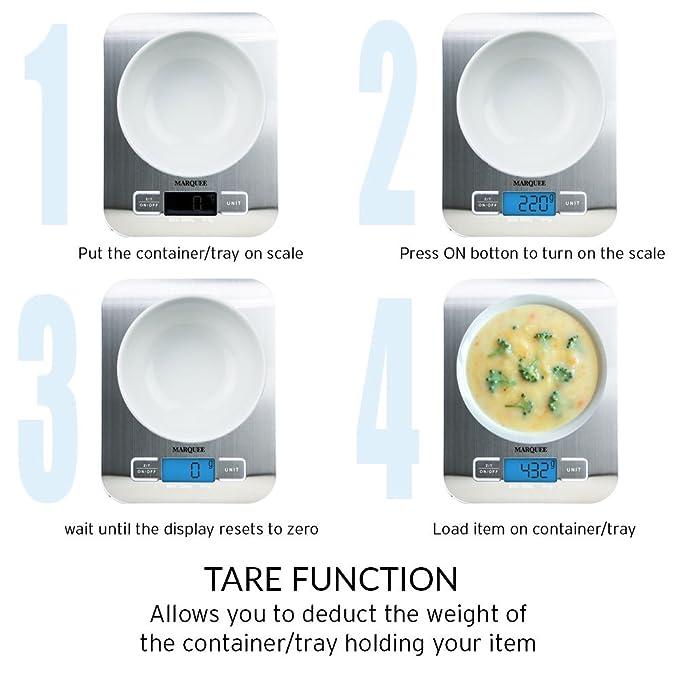 4 unidades | Digital báscula de cocina | multifunción alimentos escala con LCD display| de 0.01oz/1G a 11Lb/5kg capacidad | ideal para cocinar, hornear, ...