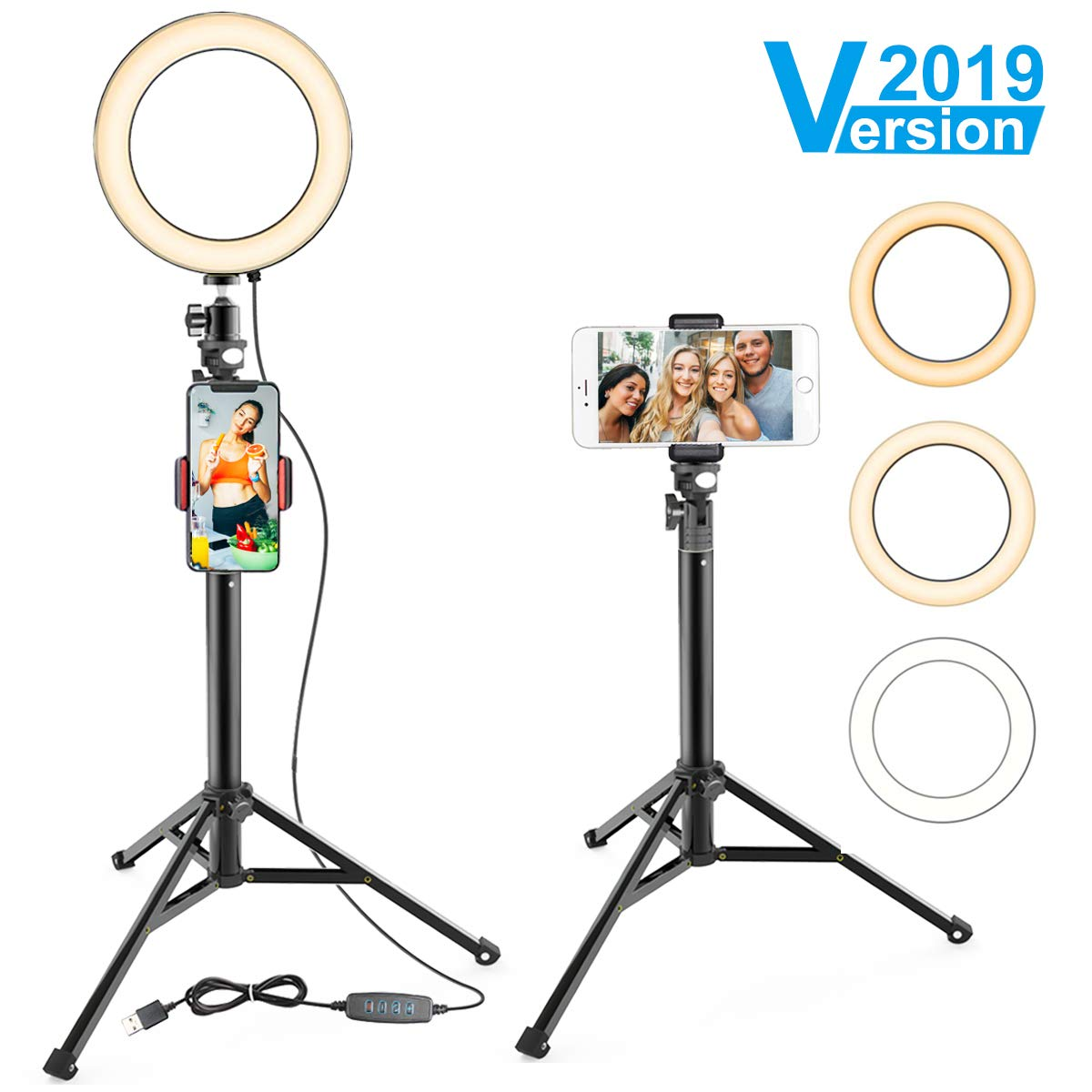 8'' Ring Light with Stand & Cell Phone Holder for YouTube Video and Makeup, Selfie Light Ring for Live Stream/Photography, Compatible with iPhone Android,Remote Control
