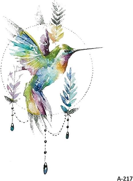 WYUEN 5 hojas acuarela pájaros colibrí falso tatuaje impermeable ...