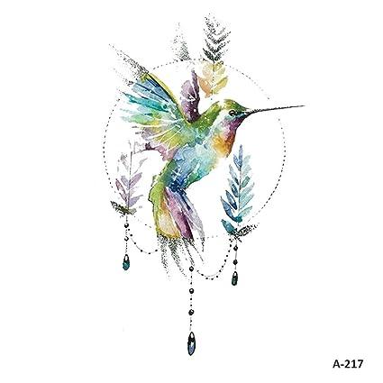Wyuen 5 Hojas Acuarela Pájaros Colibrí Falso Tatuaje Impermeable