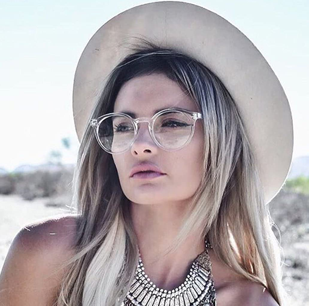 619848c01d4 Amazon.com  WearMe Pro - Transparent Clear Frame Round Hipster Glasses   Clothing