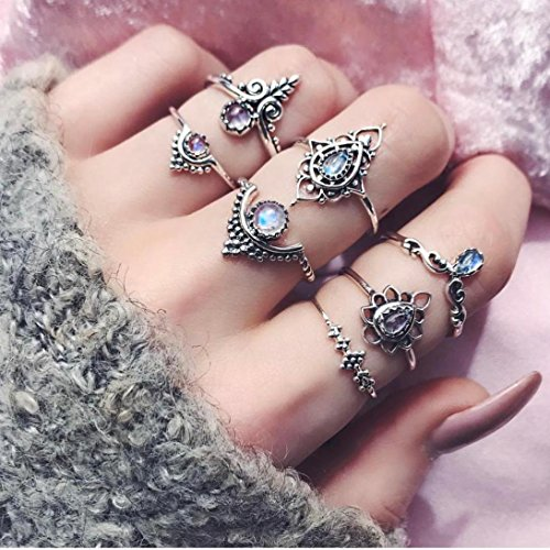 Botrong® 7pcs/Set Women Bohemian Vintage Silver Stack Rings Above Knuckle Blue Rings Set (Silver) (Silver)