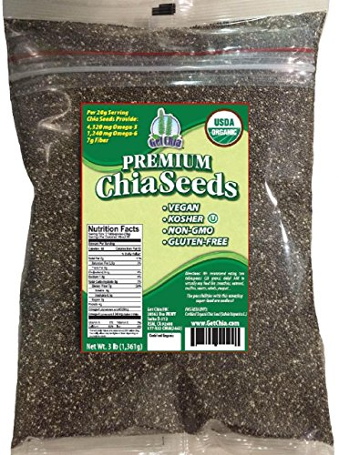 Certified Organic 3 POUNDS Get Chia Brand Chia Seeds = ONE x 3 Pound Bag