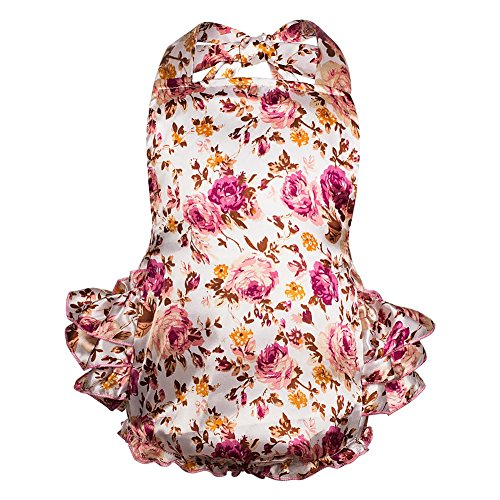 Qteland Baby Girls' Floral Print Ruffles Romper Summer Dress (Small, Vintage Rose)