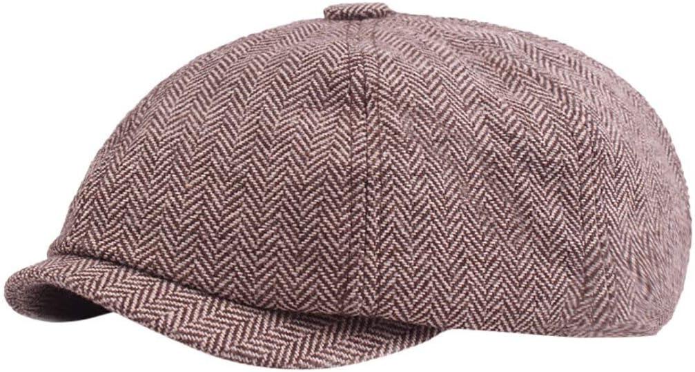 WAZHX Boina De Moda Gorras Planas Mujeres HombresGorra DeVendedor De PeriódicosSombrero De Algodón En EspigaBaker Boy Tweed Gorras Sombrero