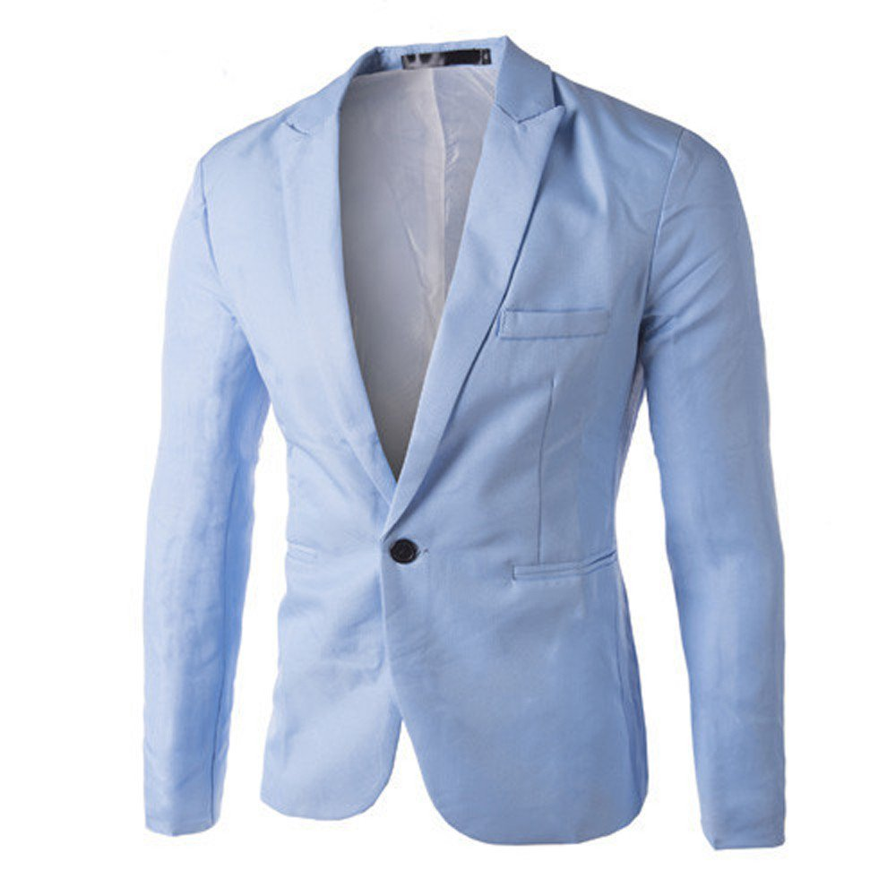 Mens Single Breasted Classic Blazer Business Jacket Suits Slim Fit One Button Luxury Vintage Smart Formal Dinner Suits Blue