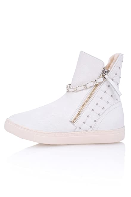 Women's Abba White Leather Fur Lined High Top Fashion Sneakers
