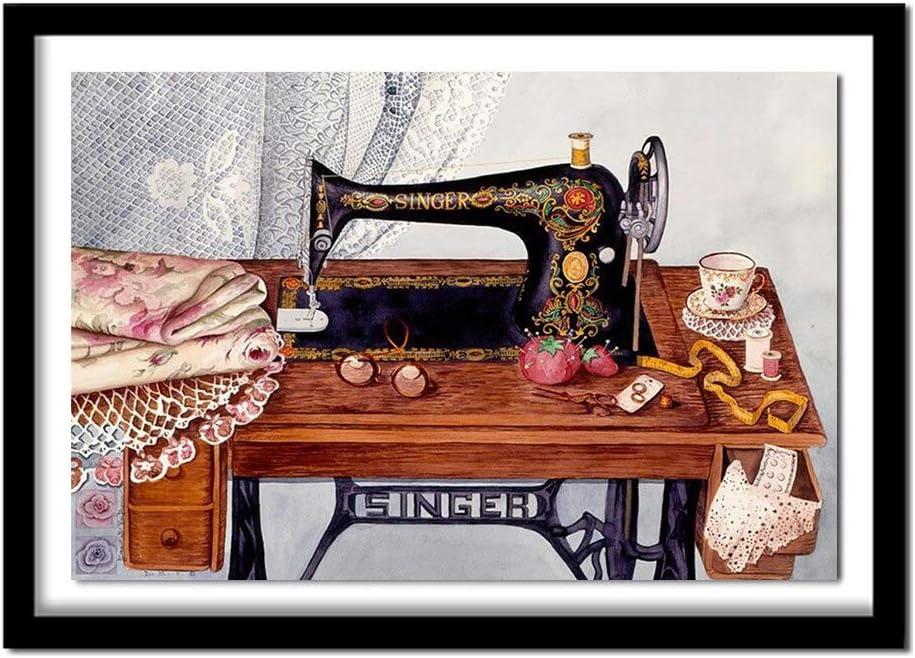 Likayj Kit De Pintura Con Brillantes 5D Máquina De Coser Bodegón Diy Pintura Al Oleo Por Numerosdiseño,Con Diamantes De Imitación,Para Decoración De La Pared Del Hogar 40x60cm