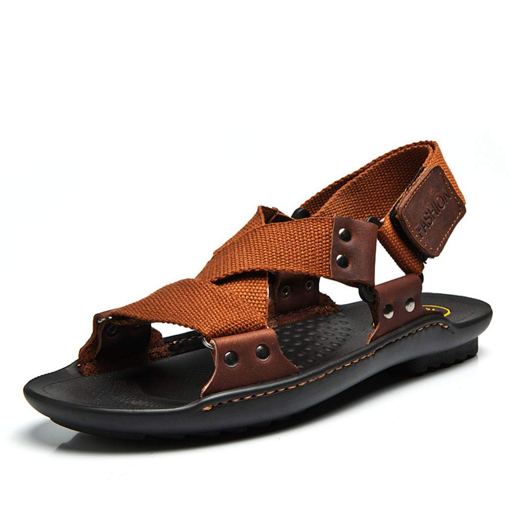 evierup Beach Shoes Men Sandals Men Brand Leather Slippers for Men Sandalias