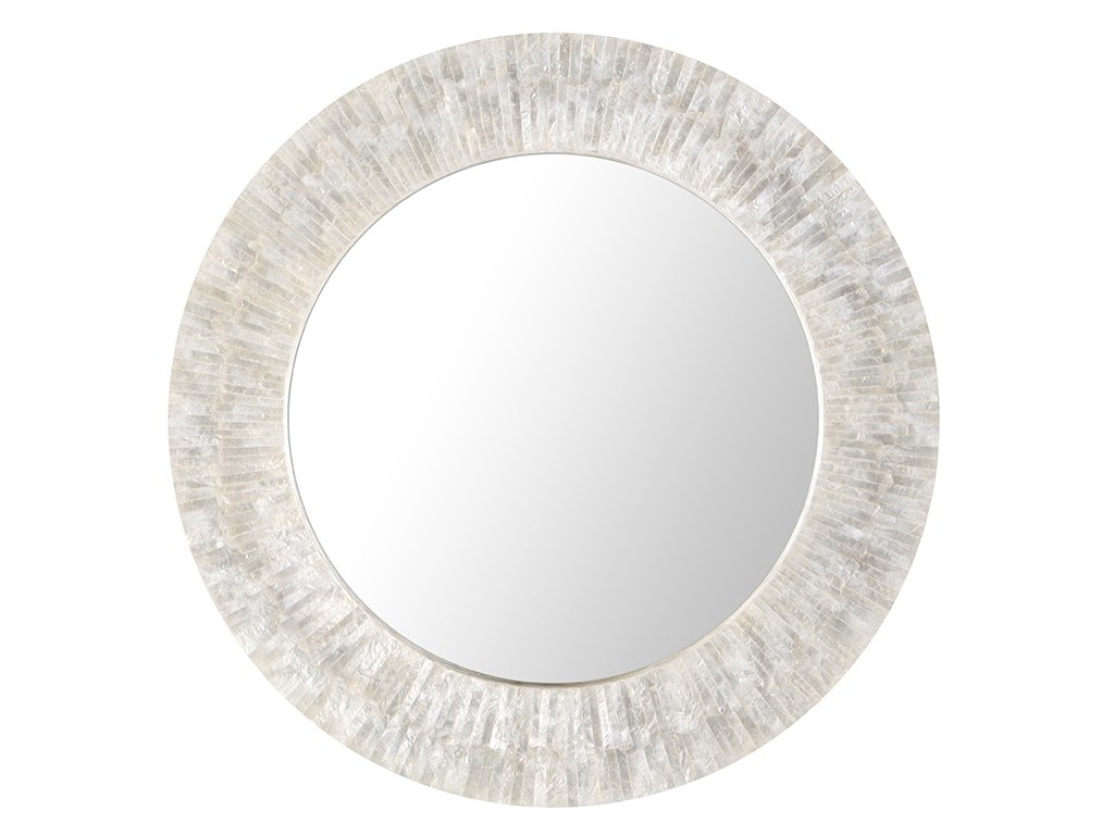 KOUBOO 1040142 Round Capiz Seashell Sunray Wall Mirror, Pearlescent White - Diameter 24 inches x 2 inches deep. Diameter mirrored glass only 16 inches Capiz seashell hand set on Wood Frame Mirrored glass can be cleaned with any glass cleaner - bathroom-mirrors, bathroom-accessories, bathroom - 61pzXJo6fHL -