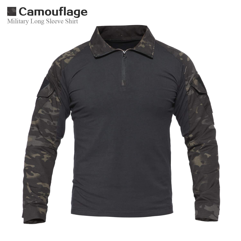 LHHMZ Chemise à Manches Longues Militaire pour Homme Chasse au Combat en Noir  Randonnée T-Shirts avec Fermeture à glissière pour Tenue de Sport et  Loisirs  ... 8f6481d7874
