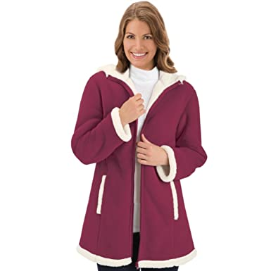 Women's Polar Fleece Sherpa Lined Zip Up Coat at Amazon Women's ...