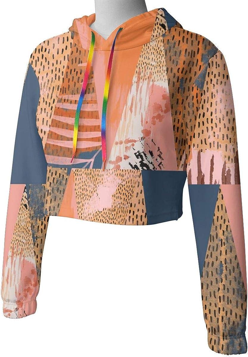 Womens Hoodie Sweater Abstract Triangle Pattern Crop Top Sweatshirt Lumbar Sweatshirt Cropped Hoodie
