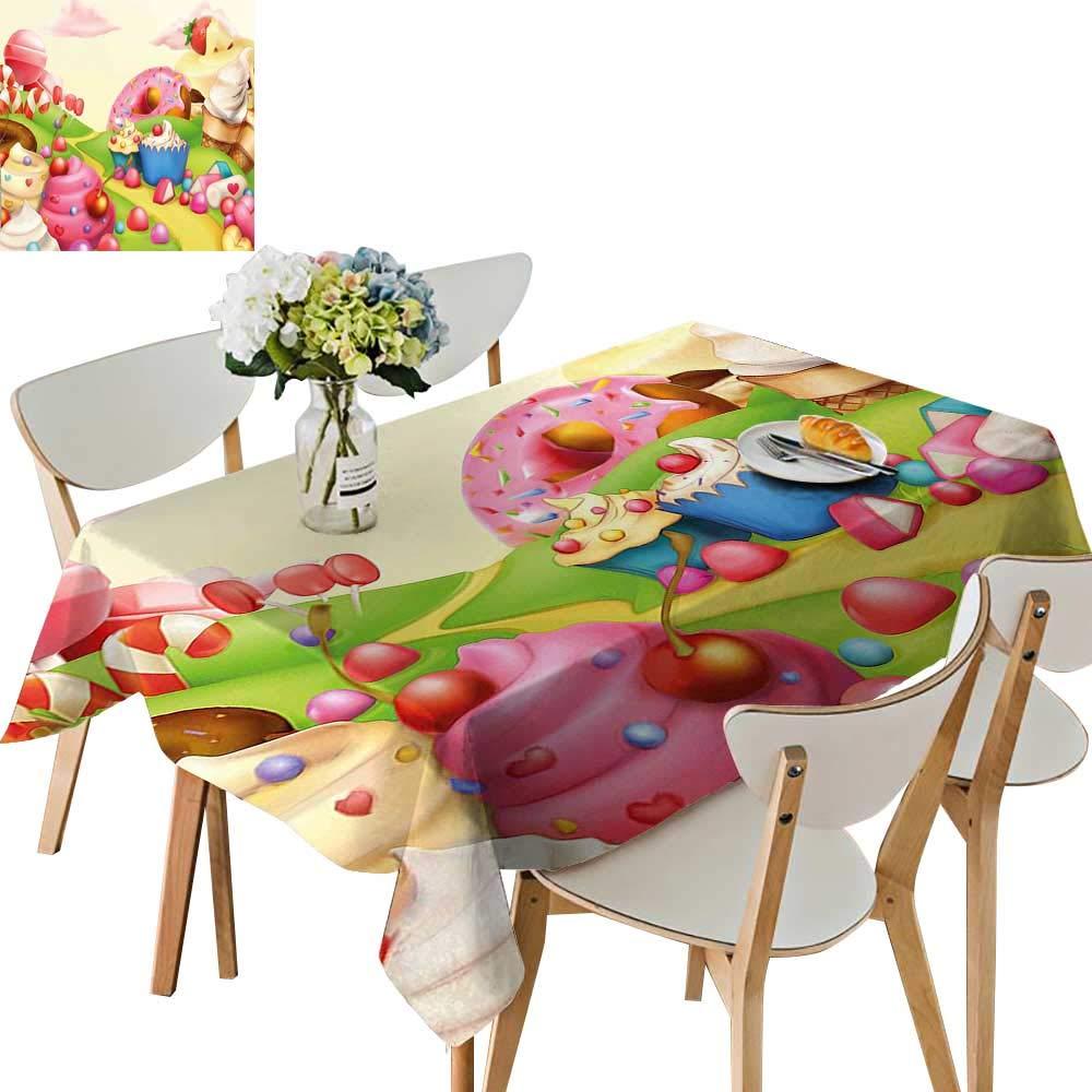 UHOO2018 テーブルクロス キッチン カップケーキ マフィン イチゴとチェリー柄 ライトピンクとブラウン 正方形/長方形テーブルカバー Rectangle/Oblong, 50 x 102 Inch Rectangle/Oblong, 50 x 102 Inch カラー08 B07MYV96YY
