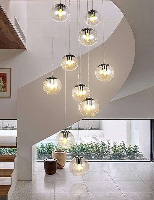 Candelabros de la escalera 10 bolas de vidrio, luces múltiples, moderno, sala de estar, colgante, luz, burbujas, burbujas, villa, lámpara de techo, apartamento dúplex, escaleras en espiral, lámpara la: Amazon.es: Hogar