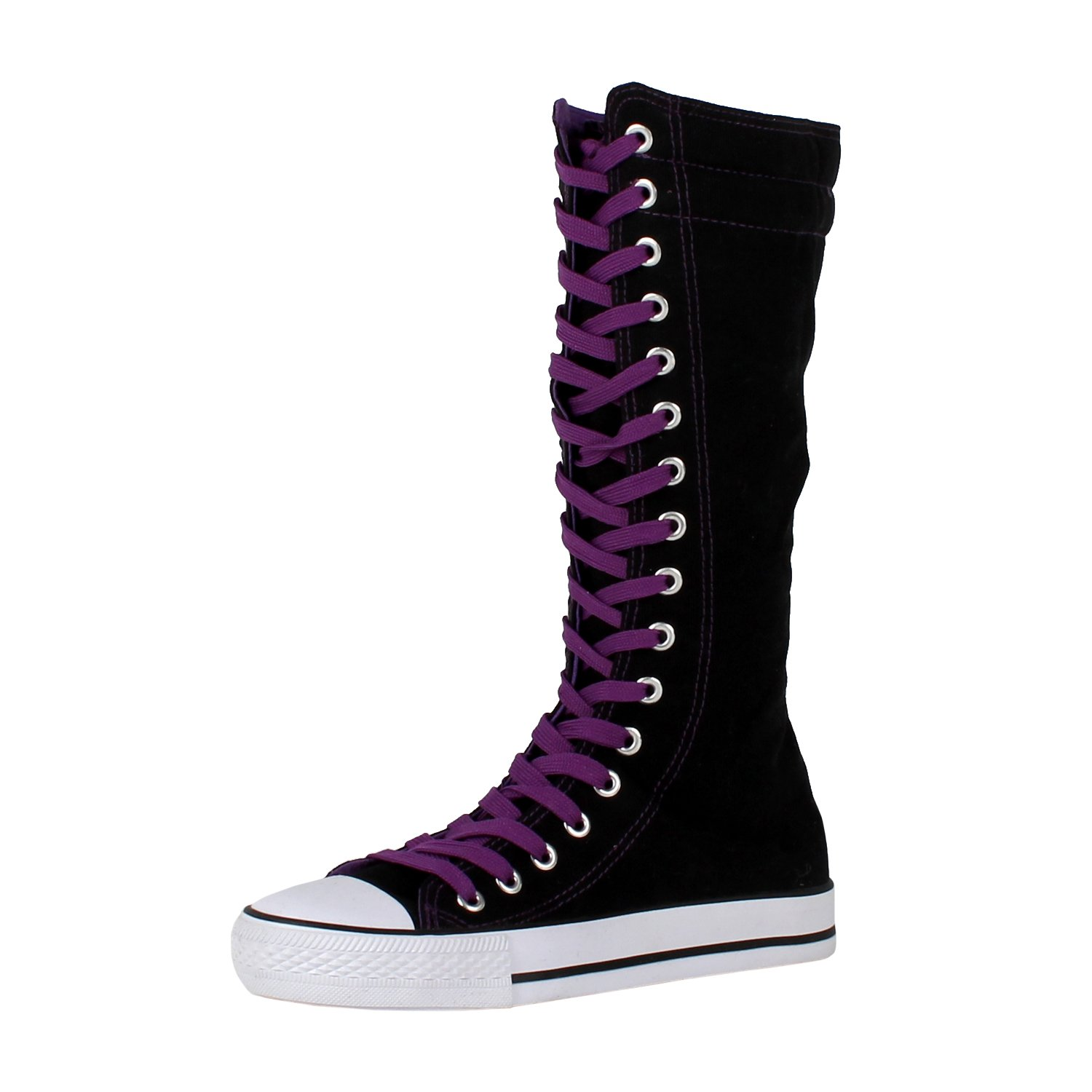 Purple And Black Canvas Lace Up Shoes