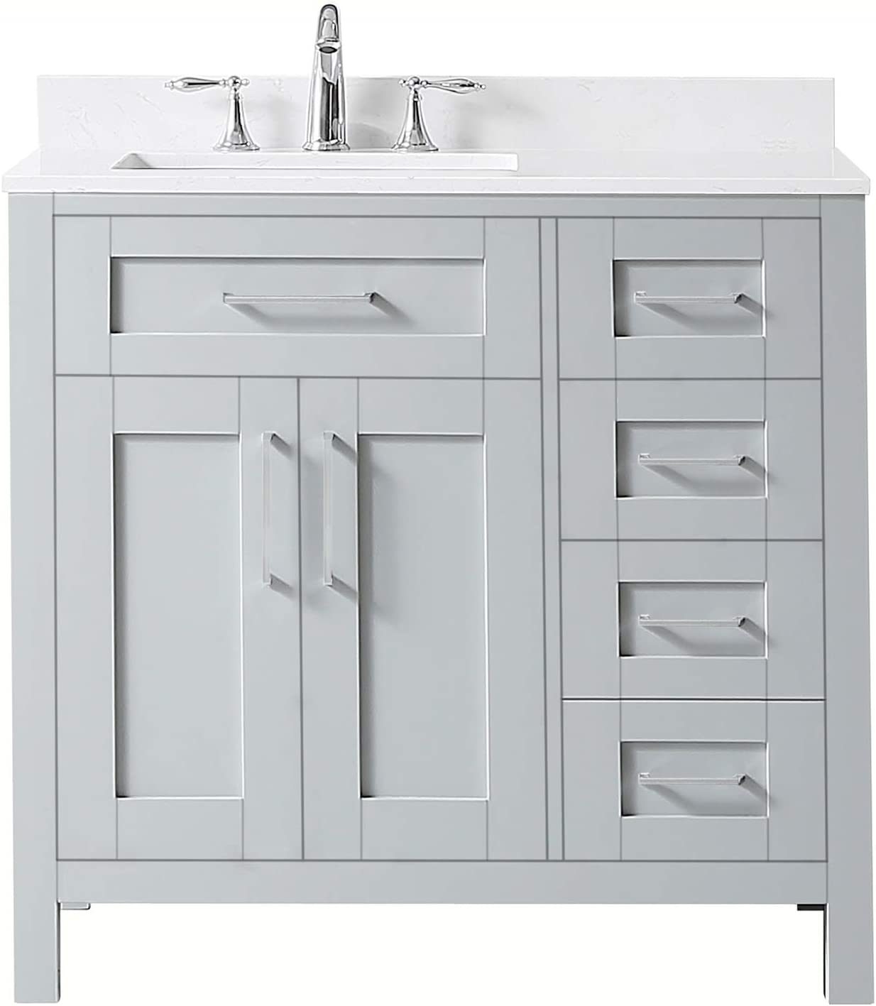 Ove Decors Maya 36 Set Bathroom Vanity Freestanding Cabinet, 36 inches, Dove Grey with Yves Cultured Marble Countertop