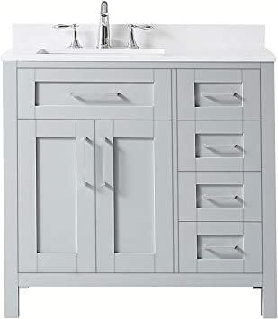 Ove Decors Maya 36 Set Bathroom Vanity Freestanding Cabinet 36 Inches Dove Grey With Yves Cultured Marble Countertop Amazon Com