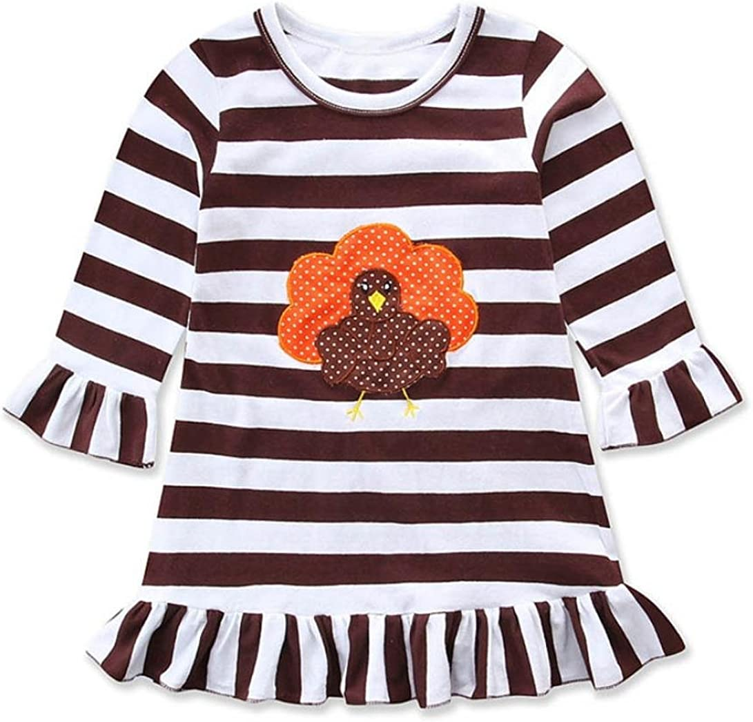 YJM Happy Thanksgiving Toddler Baby Girl Turkey Print Dress Stripe Sundress Outfit 4T, Coffee