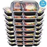Meal Prep Containers 2 Compartment 24 Pack with Lids | 32oz BPA-Free Food Storage and Portion Control by Prep Naturals