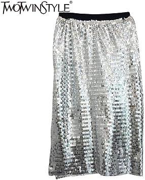 DAHDXD Faldas para Mujer Cintura Alta Patchwork Lentejuelas ...
