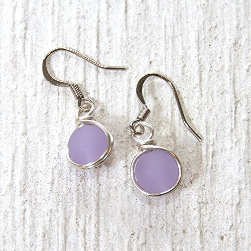 Purple Casual Earrings (Lilac Light Purple Beach Glass Bead Drop Earrings - Beach Wear Handmade Wire Wrapped Jewelry)