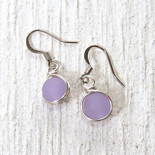 Earrings Casual Purple (Lilac Light Purple Beach Glass Bead Drop Earrings - Beach Wear Handmade Wire Wrapped Jewelry)