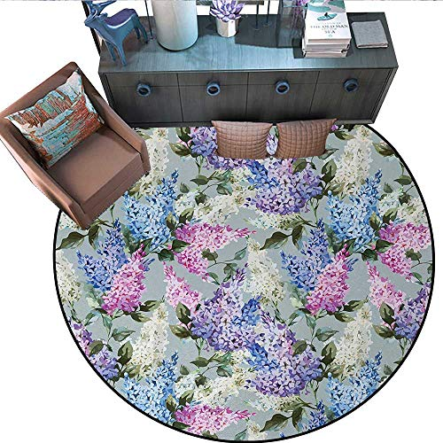 Mauve Non-Slip Round Rugs Various Mix Hyacinth Garden with Flowers and Leaf Branches Summer Botanic Plants Living Dinning Room and Bedroom Rugs (71