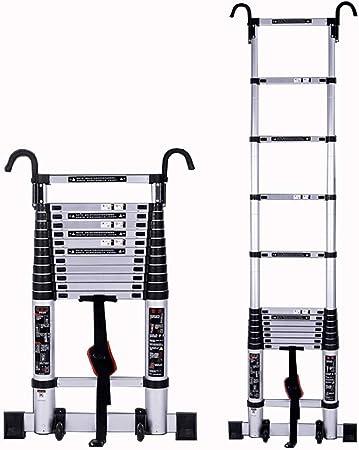 ZR- Escalera Telescópica Con Gancho Desmontable, Aleación De Aluminio Extensión Escalera Para Industrial Diaria Del Hogar, Capacidad De Carga 330lbs -Fácil de almacenar y fácil de llevar: Amazon.es: Hogar