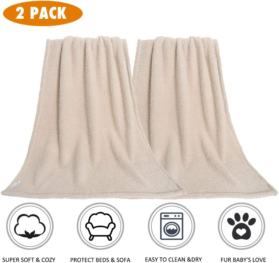 Premium Fluffy Fleece Dog Blanket, Soft and Warm Pet Throw for Dogs & Cats (2-Pack Large 40x47'', Beige)