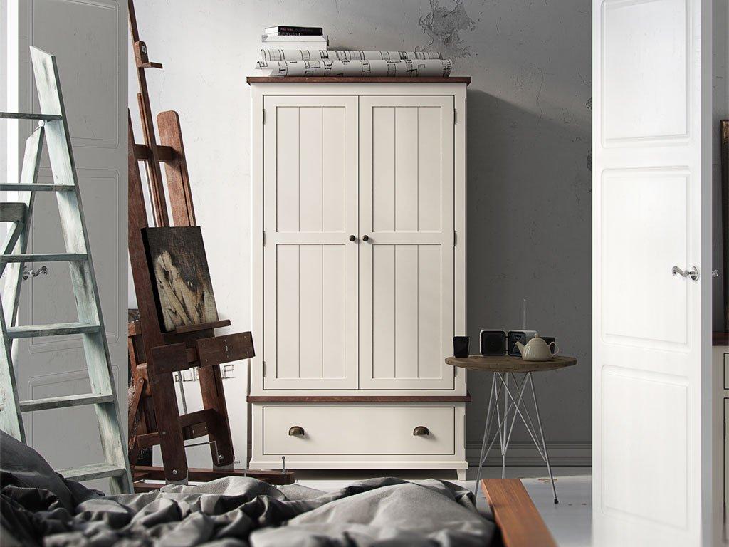 Drehtürenschrank / Kleiderschrank 04 massiv weiß / braun - Abmessung: 200 x 110 x 60 cm (H x B x T)