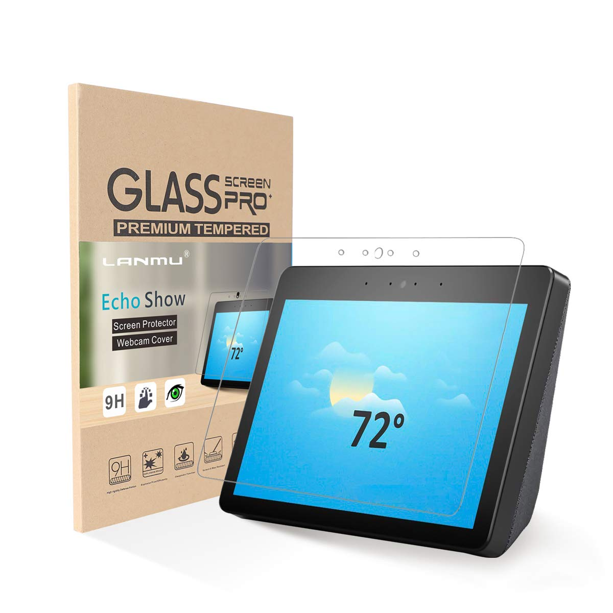 LANMU Echo Show Screen Protector,Tempered Glass Screen Protectors for Echo Show ,Echo Show Accessories 2nd Gen 2 Pack