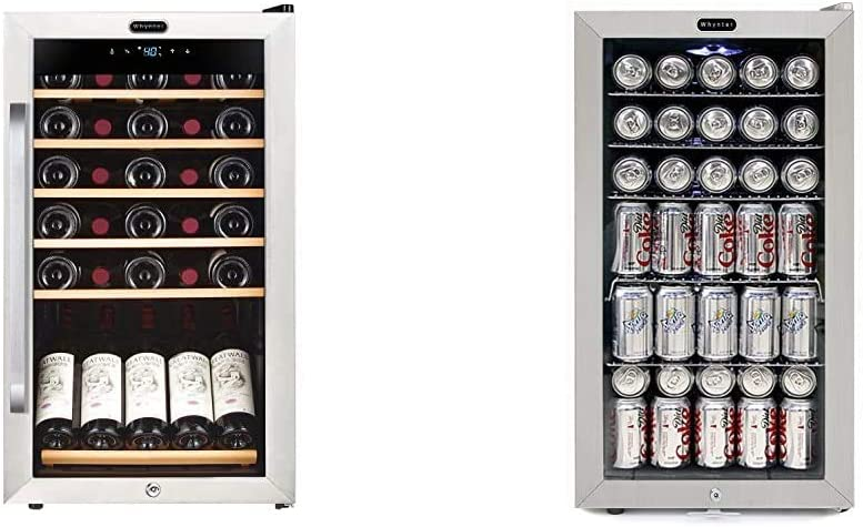 Whynter FWC-341TS 34 Bottle Freestanding Wine Refrigerator with Display Shelf and Digital Control & BR-128WS Beverage Refrigerator With Lock, 120 12oz Cans, Stainless Steel & White