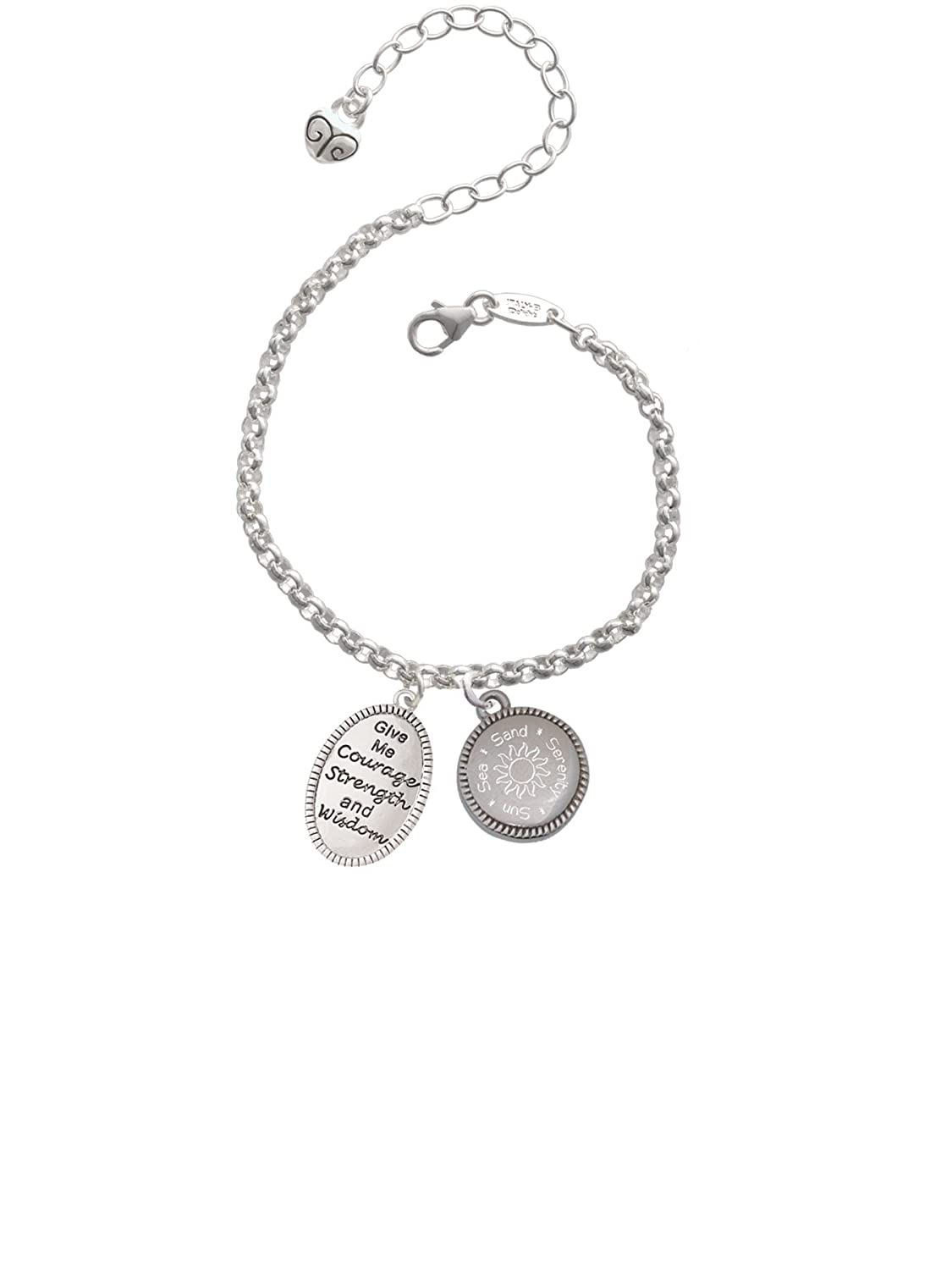 Delight Jewelry Give Me Courage Strength Wisdom Medallion Sun Sea Sand Serenity Engraved Bracelet