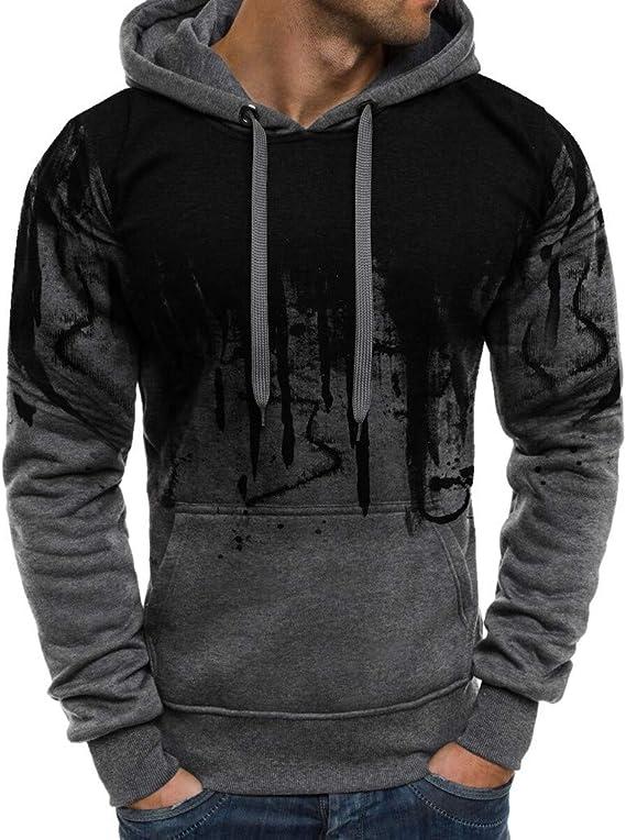 Boys /& Mens Drawstring Hoodie Plus Velvet Thick Sweatshirts Slim Top Blouse