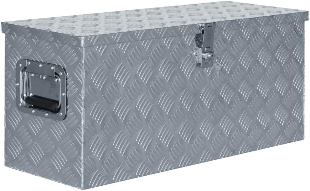 vidaXL Aluminium Box 80x30x35cm Silver Trailer Storage Chest Trunk Organiser