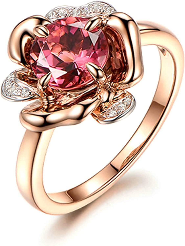 Daesar Anillos Oro Rosa 18 Kilates Mujer Anillo Flor Turmalina Roja 1.51ct y Diamante 0.06ct
