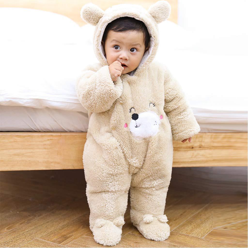 Baby Winter Overall Vlies Strampler Warmer Schlafanzug Schneeanzug mit Kapuze Pyjama Verdicken Body Neugeborene Spielanzug 0-3 Monate