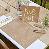 Ginger Ray Childrens Wedding Activity Placemat Pack and Colouring Kit - 8 pack - Rustic Country