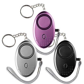 3 PCS Alarma Personal, Bkinsety 130dB Alarma de Pánico Defensa Personal Llavero con Función de Ilumi