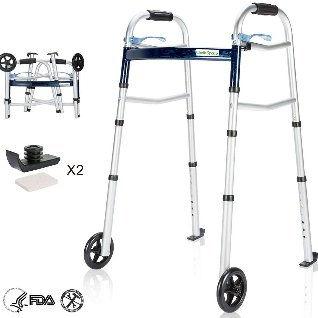 OasisSpace Compact Folding Walker, with Trigger Release and 5 Inches Wheels for The Seniors [Accessories Included] Narrow Lightweight Supports up to 350 lb by OasisSpace