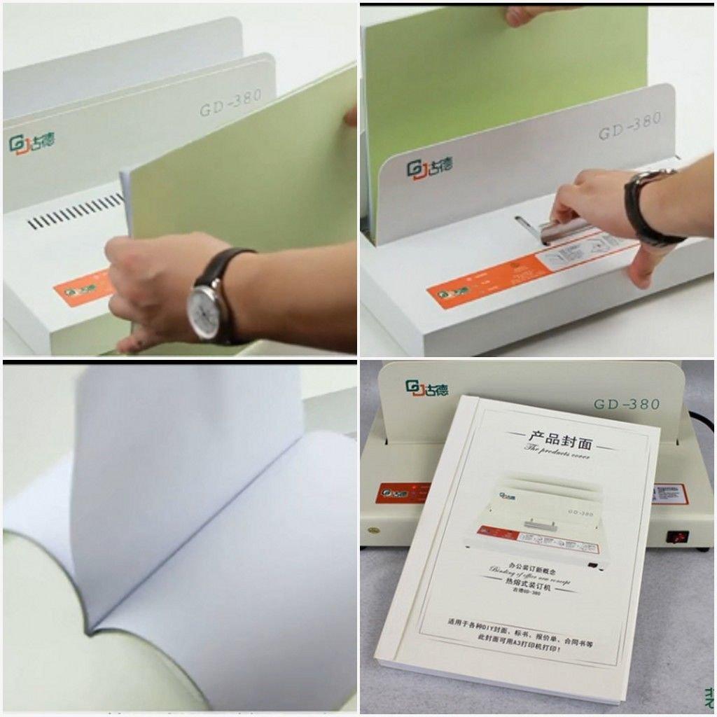 Hot Melt Electric Book Binder Thermal Binding Machine 500 Sheets B5 A4 A3(A3::short side) GD380