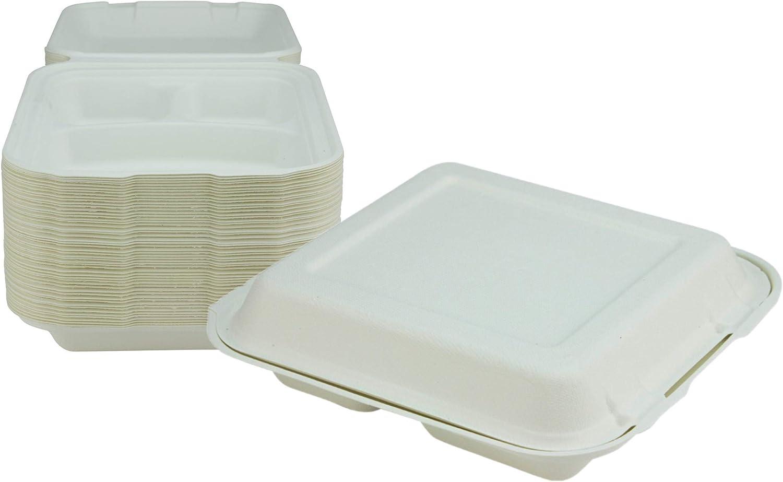 Bagasse Clamshell 3 compartimiento para llevar caja - caja de ...