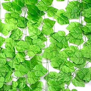 Aibrisk 12pcs 95 Feet Odorless Artificial Ivy Greenery Vine Leaves Fake Greenery Garland Ivy for Wedding Party Indoor and Outdoor Decoration 90