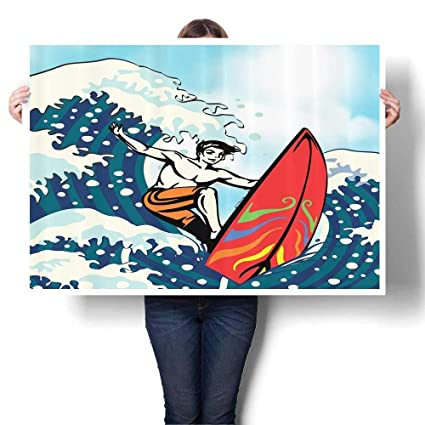 SCOCICI1588 Modern Canvas Paintings, Surfboard Gifts for Surfer Ocean Tropical ACH Summer Wavesatis for Kids