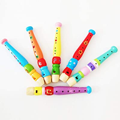 Wooden Intelligence toy Kindergarten Children Early Education Teaching Aids Wooden Colorful Flute Musical Play Toys, Size: 20 * 2.5cm kids toys Early Education Wood Toys: Everything Else