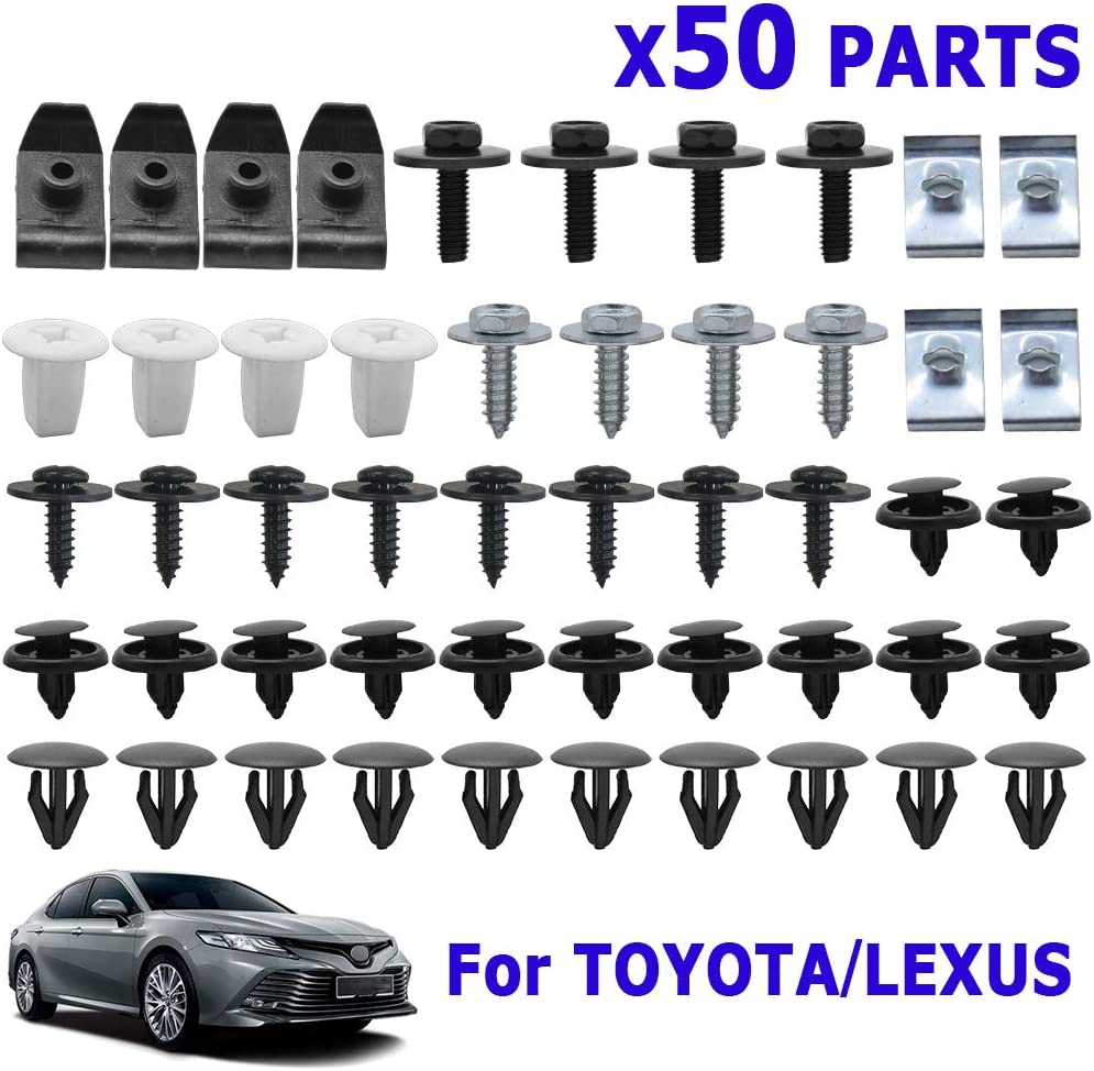 50PCS Under Engine Cover Undertray Clips For Camry Corolla RAV4 Fastener Car Bumper Fender Mud Flaps Shield Bottom Liner Splash Guard Wheel Arch Self-tapping Screw Kit Auto Replacement