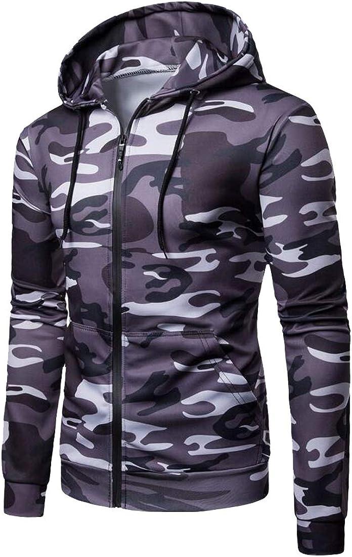 XiaoTianXinMen XTX Mens Zip Front Casual Long Sleeve Camo Loose Fit Hooded Sweatshirt Coat
