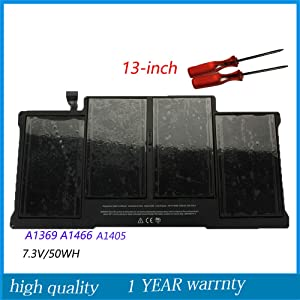 Huiyuan 7.3v 50Wh A1405 Laptop Battery for Apple MacBook Air 13Inch A1369 Mid 2011 A1466 Mid 2012 MC503 MC504 with Tools