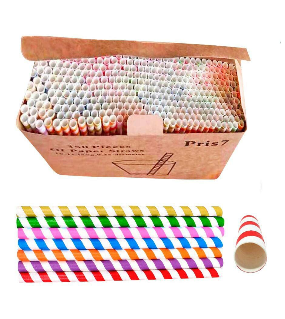 350 Pack - Biodegradable Straws,7 Different Colors,Extra Large & Wide 10.43''x0.35'', Eco-Friendly | Drinking Paper Straws, Smoothie Straws,Juice, Milkshake, Drinks | for Events, Catering, Birthay. by Pris7